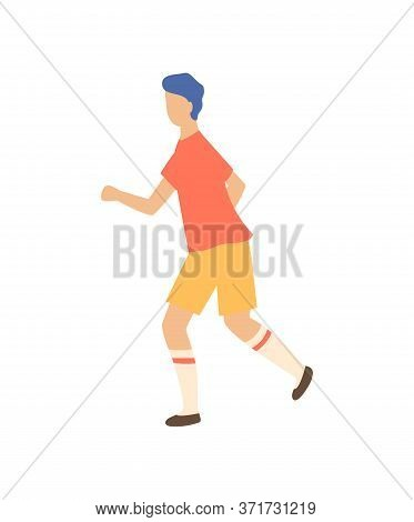 Sportive Boy Runner Isolated Cartoon Person Side View. Vector Jogging Guy, Running Jogger In Sport C