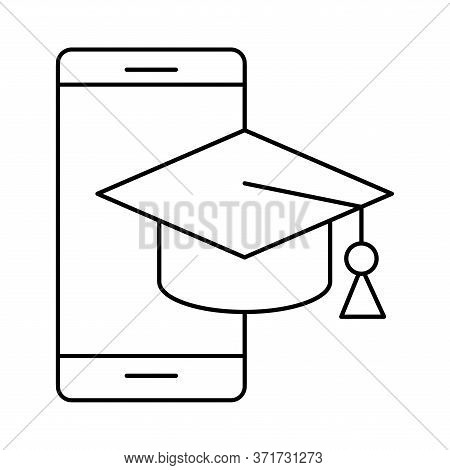 Smartphone With Graduation Cap Silhouette Style Icon Design, Education Online And Elearning Theme Ve