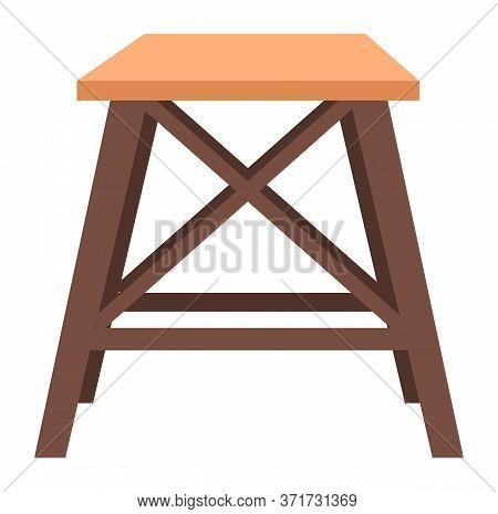 Chair Wooden Symbol For Kitchen Or Cafe Isolated On White. Interior Element Modern Stool Sitting Obj