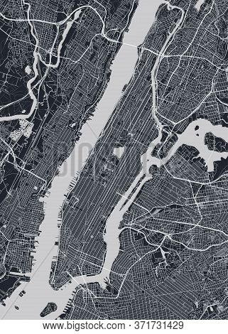 Detailed Borough Map Of Manhattan New York City, Monochrome Vector Poster Or Postcard City Street Pl