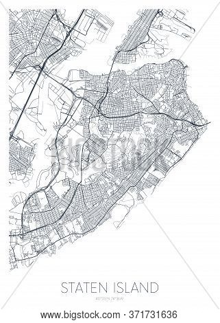 Detailed Borough Map Of Staten Island New York City, Vector Poster Or Postcard For City Road And Par