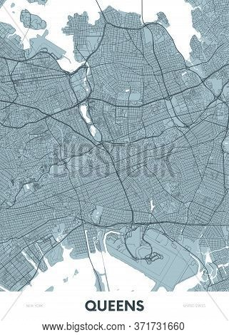 Detailed Borough Map Of Queens New York City, Color Vector City Street Plan, Printable Travel Poster