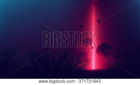 Futuristic Allusion Red Neon Ray, Light Reflex On Spheres, Vector Background With Empty Space With T