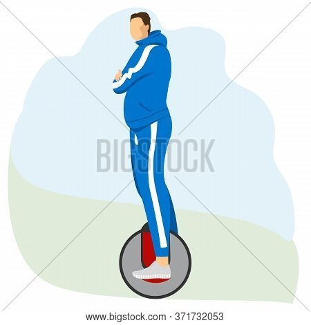 Man On A Unicycle. Athlete On The Electric Wheel. Vector Image Of A Person On Electric Transport