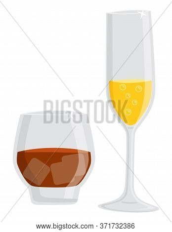 Alcohol Poured In Glass Vector, Isolated Set Of Champagne With Bubbles And Dark Rum. Beverage With I