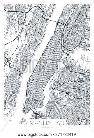 Detailed Borough Map Of Manhattan New York City, Vector Poster Or Postcard For City Road And Park Pl