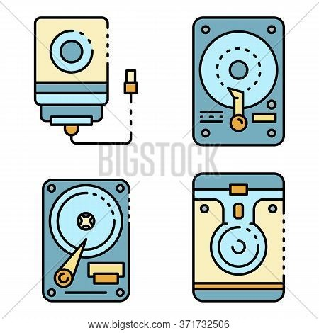 Hard Disk Icons Set. Outline Set Of Hard Disk Vector Icons Thin Line Color Flat Isolated On White