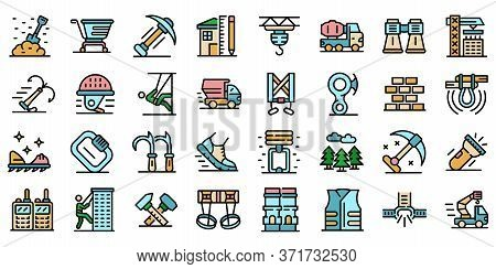Industrial Climber Icons Set. Outline Set Of Industrial Climber Vector Icons Thin Line Color Flat Is