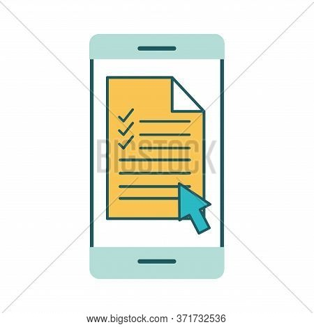 Document On Smartphone Line And Fill Style Icon Design, Education Online And Elearning Theme Vector