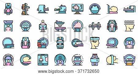 Magnetic Resonance Imaging Icons Set. Outline Set Of Magnetic Resonance Imaging Vector Icons Thin Li