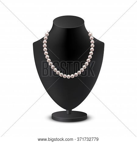 Female Bust Mannequin With Necklace Realistic Illustration. Black Neck Model Rack With Collar Of Whi