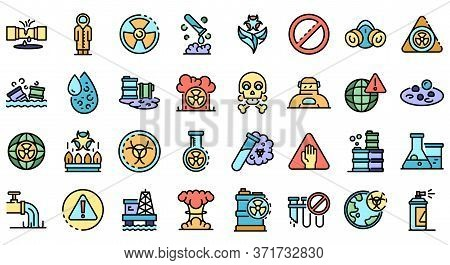 Biohazard Icons Set. Outline Set Of Biohazard Vector Icons Thin Line Color Flat Isolated On White