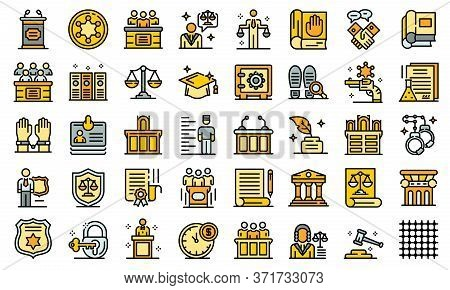Prosecutor Icons Set. Outline Set Of Prosecutor Vector Icons Thin Line Color Flat Isolated On White