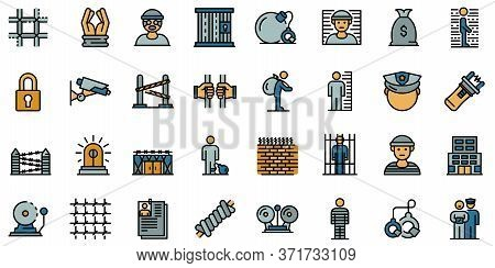 Prison Icons Set. Outline Set Of Prison Vector Icons Thin Line Color Flat Isolated On White