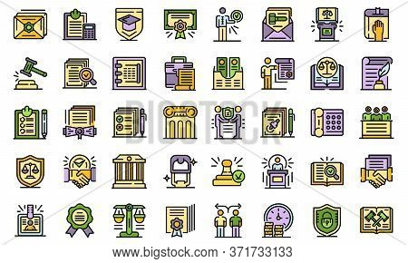 Notary Icons Set. Outline Set Of Notary Vector Icons Thin Line Color Flat Isolated On White