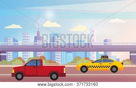 Red Pickup And Yellow Taxi Driving On City Asphalted Road Or Highway. Beautiful Cityscape On Backgro