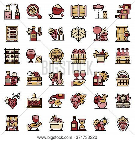 Winemaker Icons Set. Outline Set Of Winemaker Vector Icons Thin Line Color Flat Isolated On White