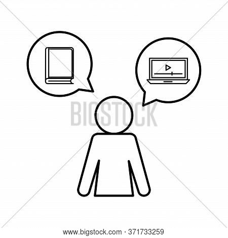 Avatar With Ebook And Laptop Silhouette Style Icon Design, Education Online And Elearning Theme Vect