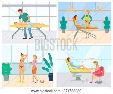Beauty Salon Treatment And Services Vector, Procedure Of Getting Tan. Massage And Epilation, Depilat
