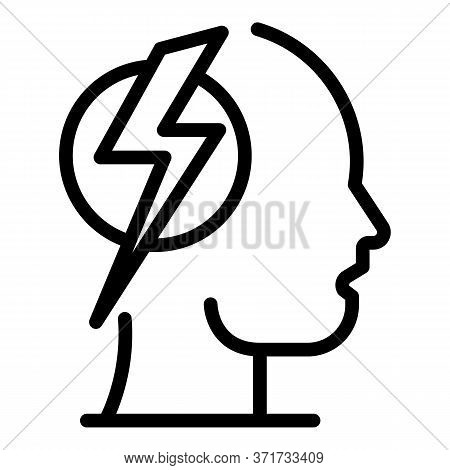 Lightning In The Head Icon. Outline Lightning In The Head Vector Icon For Web Design Isolated On Whi