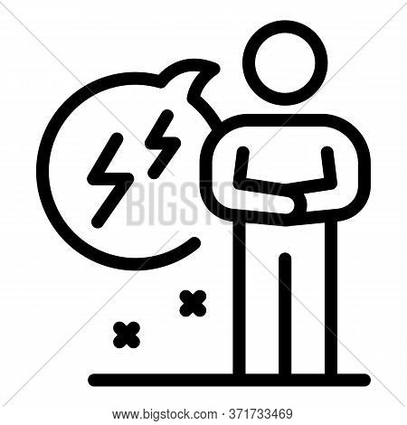 Chat Bubble Lightning Icon. Outline Chat Bubble Lightning Vector Icon For Web Design Isolated On Whi