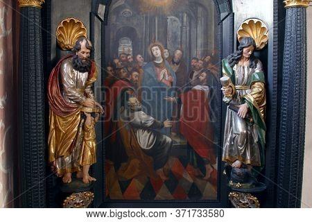 ZAGREB, CROATIA - MAY 16, 2013: Pentecost, descent of the Holy Spirit, altar of the Holy Spirit in the Church of Saint Catherine of Alexandria in Zagreb, Croatia