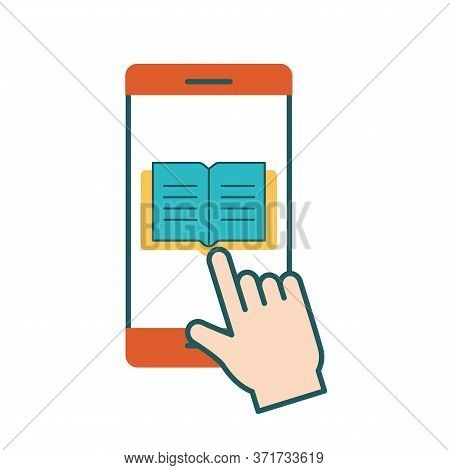 Ebook On Smartphone Line And Fill Style Icon Design, Education Online And Elearning Theme Vector Ill