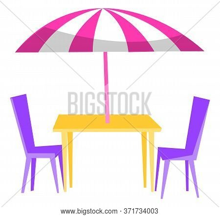 Outdoor Restaurant. Table With Umbrella And Purple Chairs. Summer Cafe, Coffeehouse Open Terrace. Fo