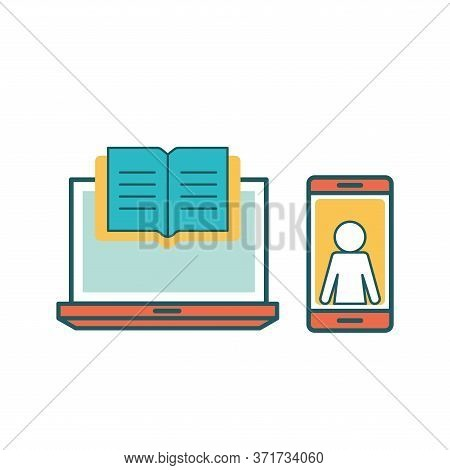 Ebook Laptop And Smartphone Line And Fill Style Icon Design, Education Online And Elearning Theme Ve