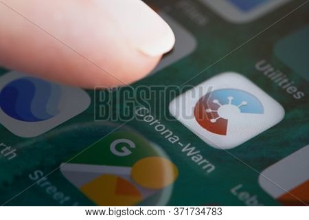 Guilherand-granges, France - June 16, 2020. Corona Warn App. German Government Smartphone App Agains