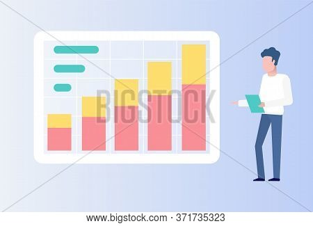 Data On Business Stats And Project Results Vector, Male Giving Report Reading From Paper Document, I