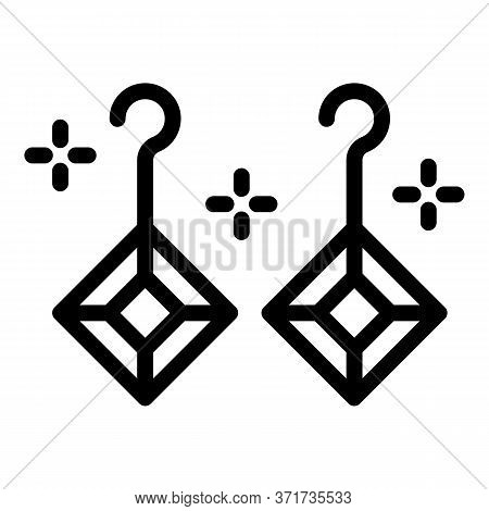 Earrings Jewel Icon. Outline Earrings Jewel Vector Icon For Web Design Isolated On White Background