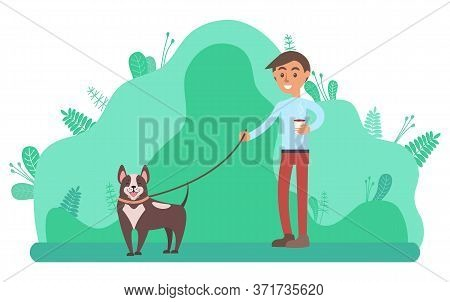 Relaxation In Park Vector, Man Walking Dog In Forest With Trees And Foliage. Doggy With Owner Summer