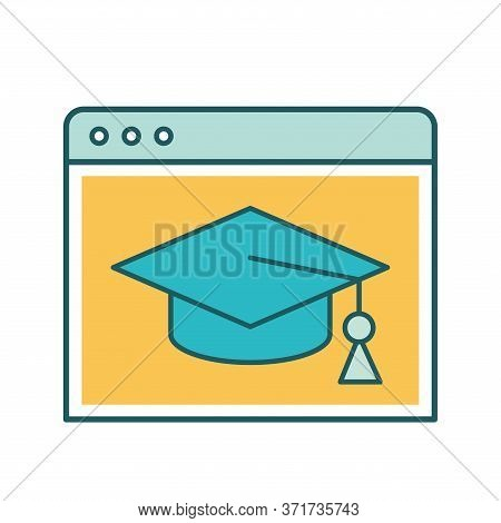Website With Graduation Cap Line And Fill Style Icon Design, Education Online And Elearning Theme Ve