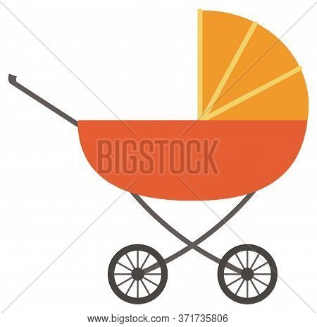 Perambulator With Wheels And Handle Vector. Isolated Pram For Newborn Kids And Toddlers. Transportat