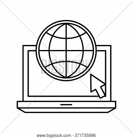 Global Sphere With Cursor On Laptop Silhouette Style Icon Design, Education Online And Elearning The