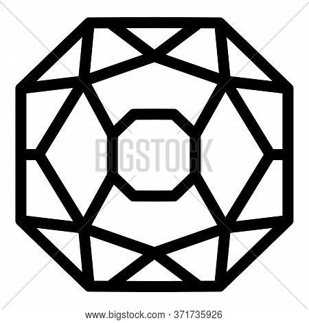 Gemstone Jewel Icon. Outline Gemstone Jewel Vector Icon For Web Design Isolated On White Background