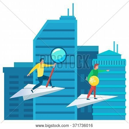 Businessman Standing On Paper Plane In City Vector, Partners Rivals In Competition. Cityscape With S