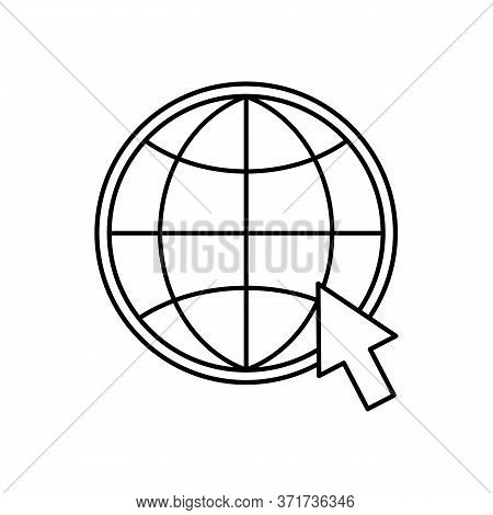 Global Sphere With Cursor Silhouette Style Icon Design, Education Online And Elearning Theme Vector