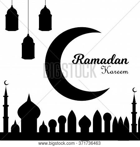 A greeting card template Ramadan Kareem. White background with isolated icon for ramadan kareem. Vector Illustration.