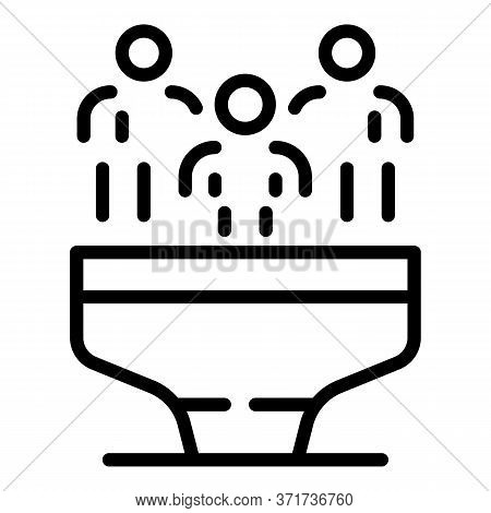 Clients Funnel Icon. Outline Clients Funnel Vector Icon For Web Design Isolated On White Background