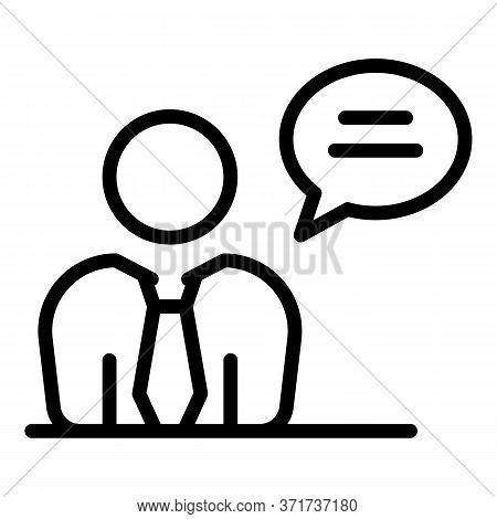 Talking Manager Icon. Outline Talking Manager Vector Icon For Web Design Isolated On White Backgroun