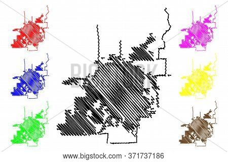 Denton City, Texas (united States Cities, United States Of America, Usa City) Map Vector Illustratio