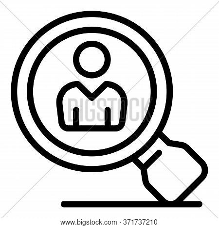 Client And Magnifier Icon. Outline Client And Magnifier Vector Icon For Web Design Isolated On White