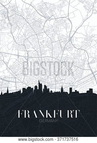 Skyline And City Map Of Frankfurt Am Main, Detailed Urban Plan Vector Print Poster