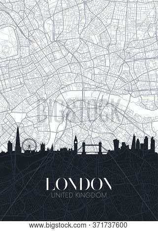 Skyline And City Map Of London, Detailed Urban Plan Vector Print Poster