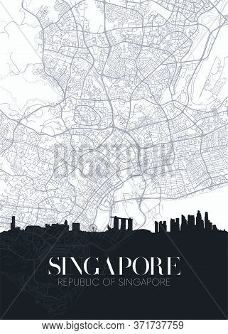 Skyline And City Map Of Singapore, Detailed Urban Plan Vector Print Poster
