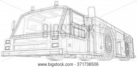 Towing Vehicle. Tow Truck Vector Illustration. Wire-frame Line Isolated. Vector Rendering Of 3d