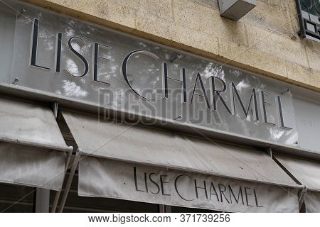 Bordeaux , Aquitaine / France - 10 17 2019 : Lise Charmel Sign Shop Logo Lingerie Store Window Displ