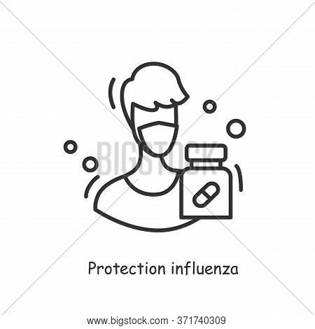 Influenza Protection Icon.probiotics Protect From Virus, Germs And Infection Wearing Mask Concept. H